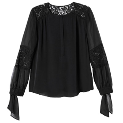 Silk Georgette and Lace Top