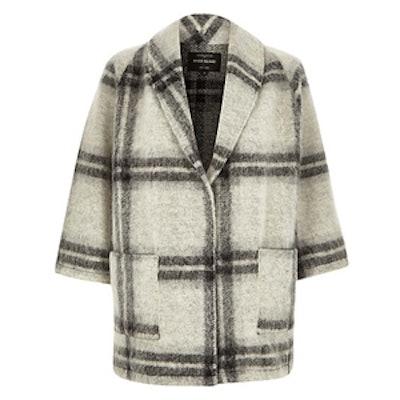 Wool-Blend Check Pea Coat