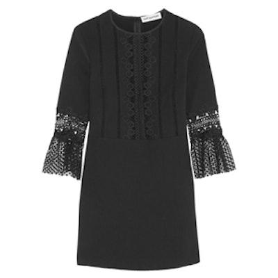 Guipure Lace-Paneled Mini Dress