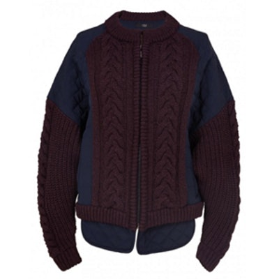 Silk Combo Cable-Knit Bomber