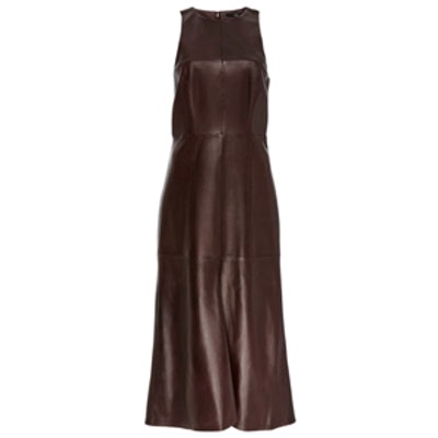 Lambskin Leather Fluted Sleeveless Maxi Dress