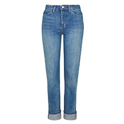 Moto Selvedge Girlfriend Jeans