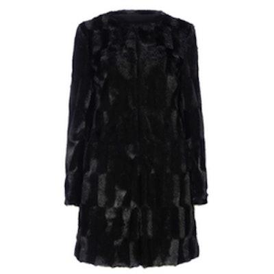 Black Faux Fur Collarless Coat