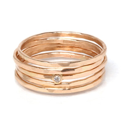 Hammered Rose Gold Stack Rings