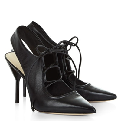 Black Leather Lace Up Martini Heels