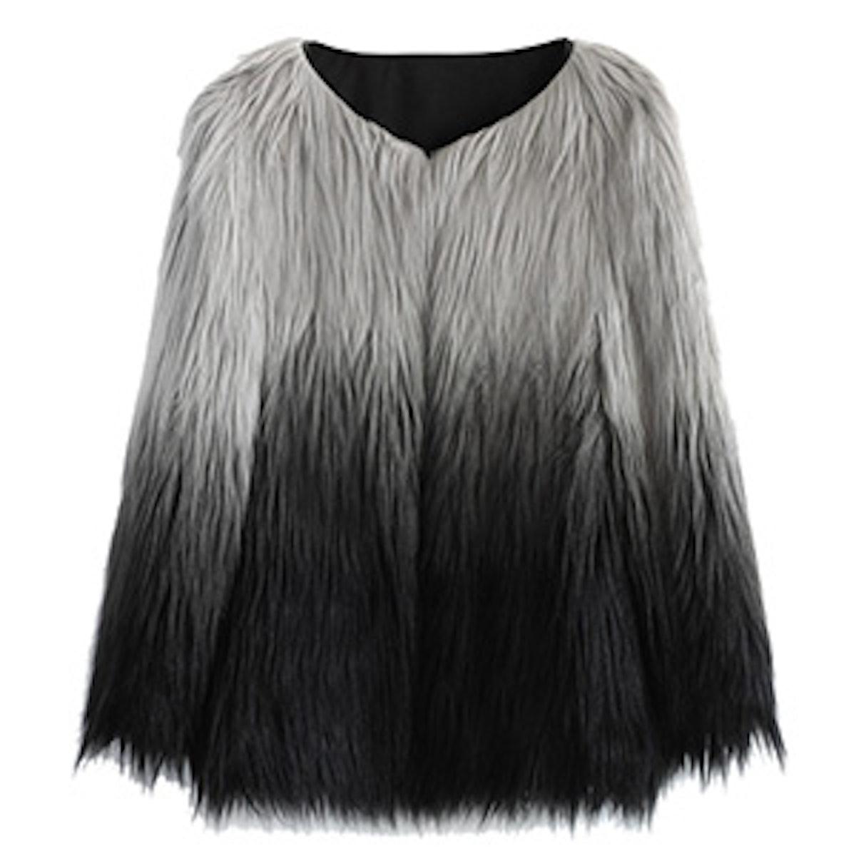 Dip Dyed Faux Fur Coat