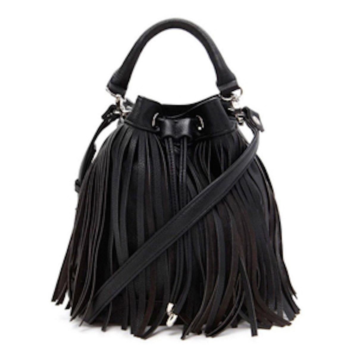Fringed Faux Leather Bucket Bag