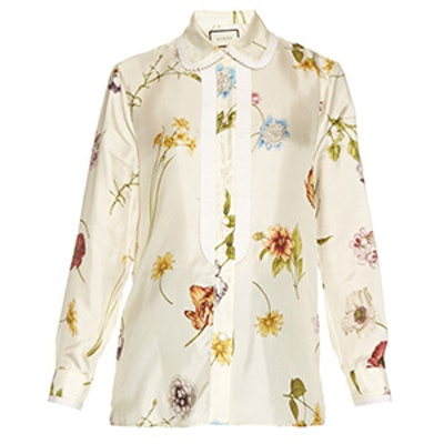 Flower Print Satin Blouse
