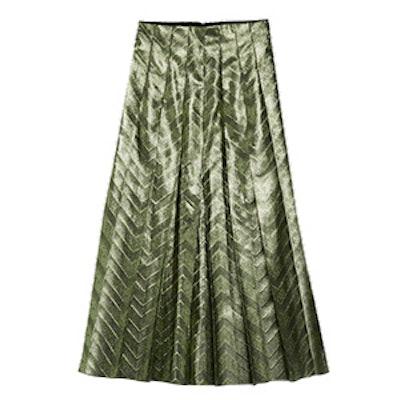 Zig Zag Lurex Plissé Skirt