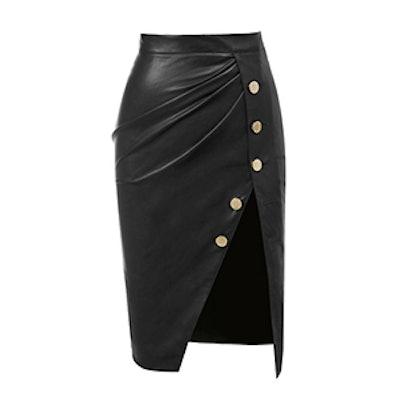 Vegan Leather Thigh Split Skirt