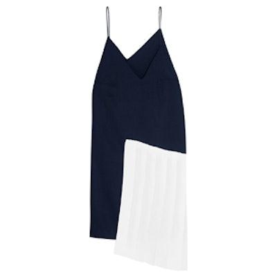 Pleated Linen-Paneled Wool Dress