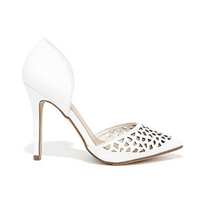 Sugar and Slice White Cutout D'Orsay Pumps