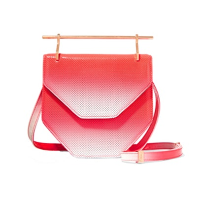 Amor Fati Dégradé Perforated Patent-Leather Shoulder Bag