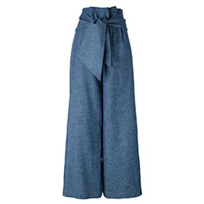 Wide Leg Tie Trousers