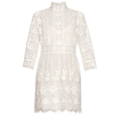 High-Neck Embroidered Dress