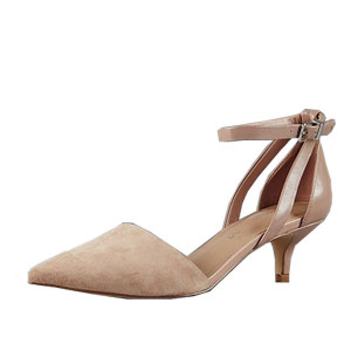 Suede Strappy Pointed Toe Court Shoes