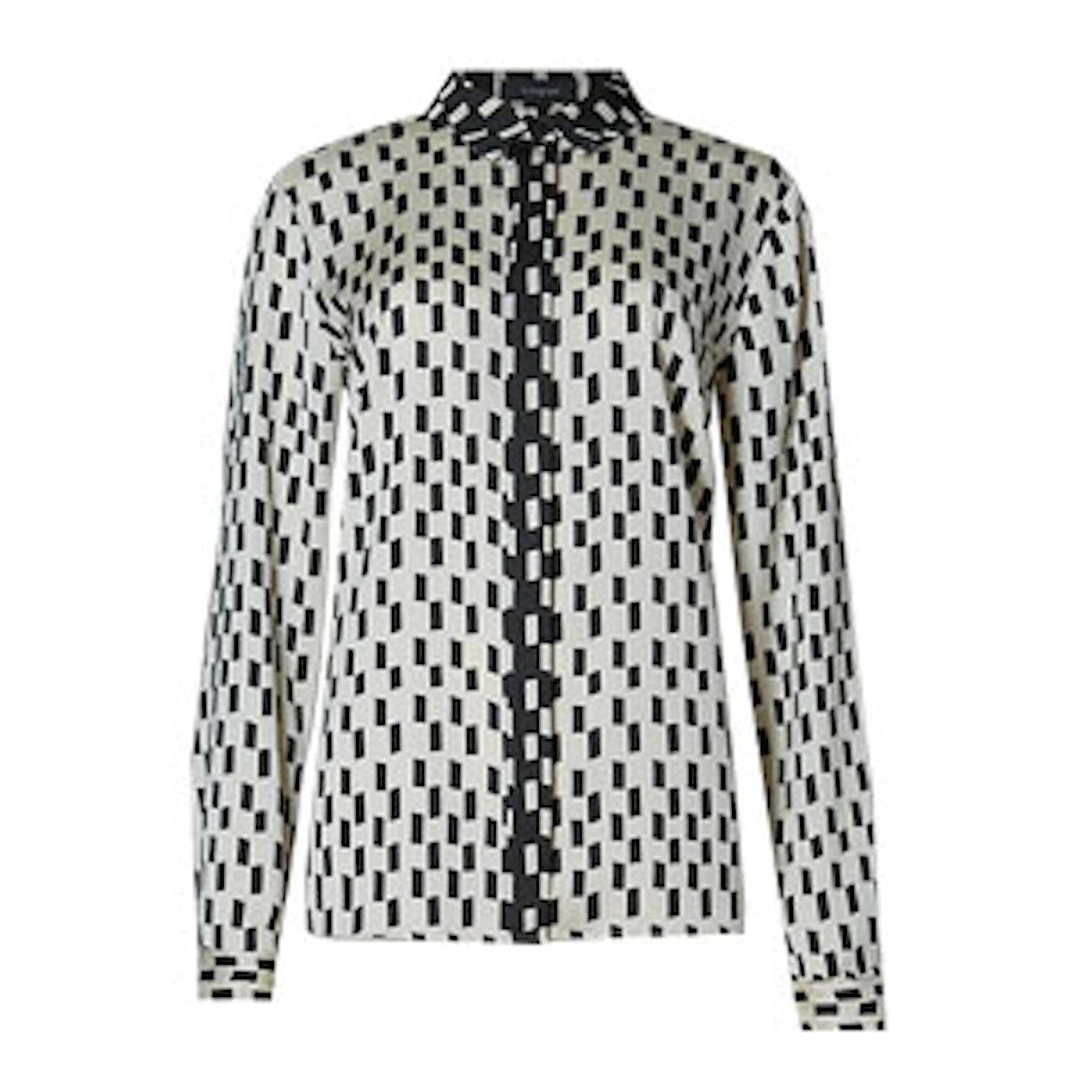 Square Print Long Sleeve Shirt