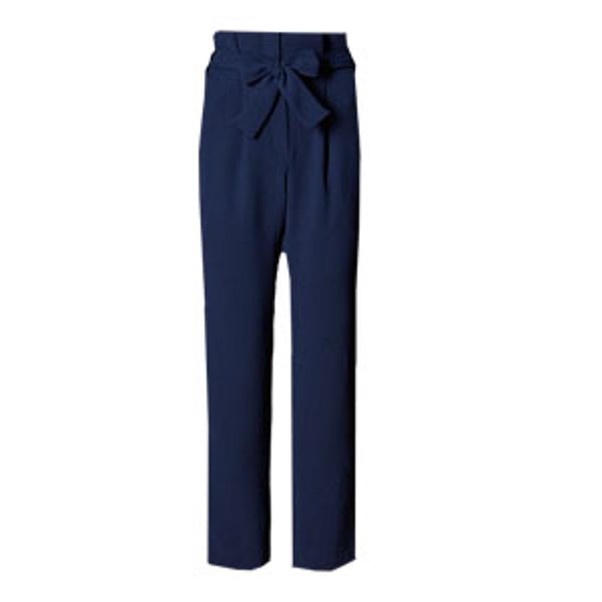 Tapered Leg Paperbag Trousers With Belt