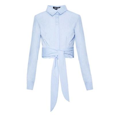 Light Blue Crop Shirt