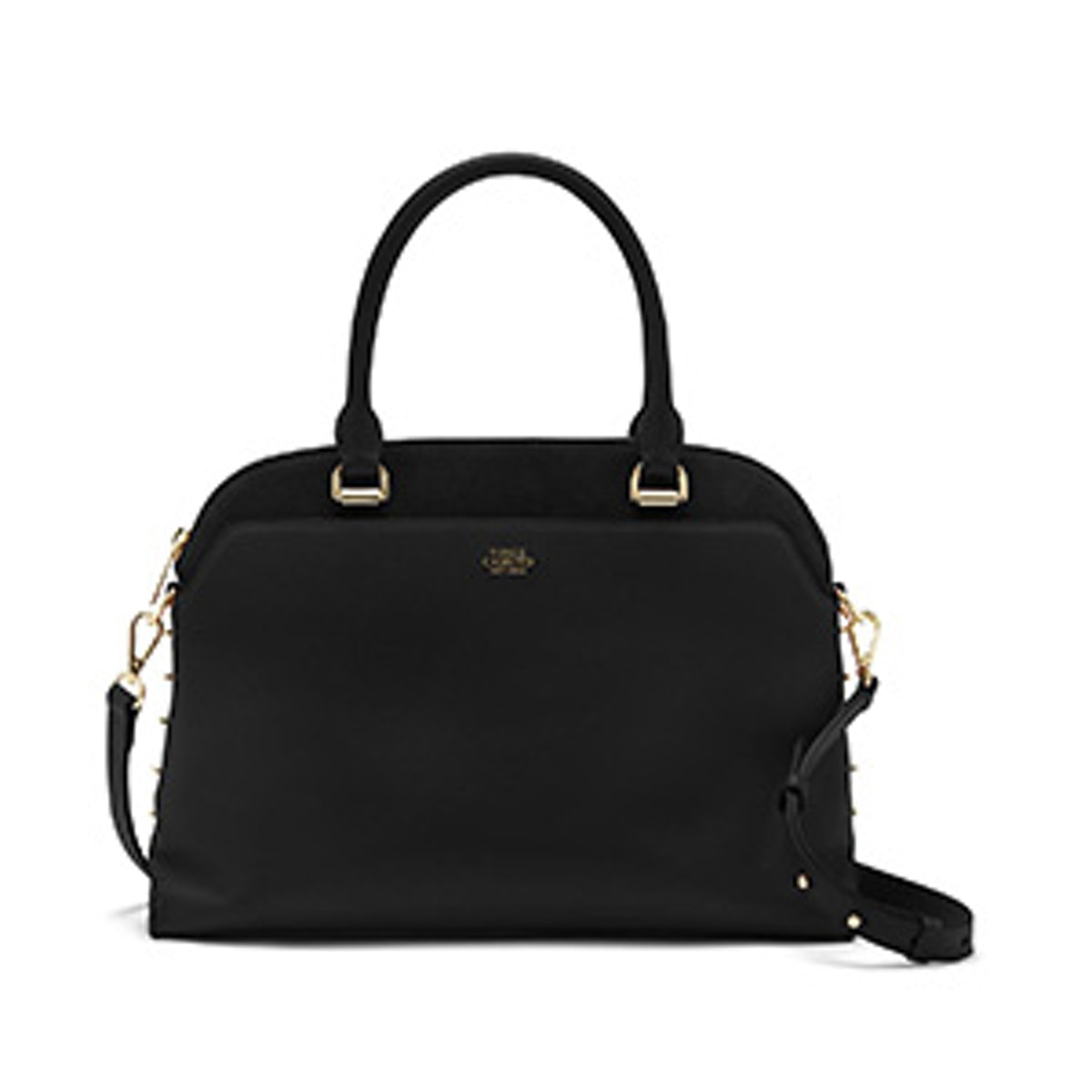 Stapled Side Suede & Leather Satchel