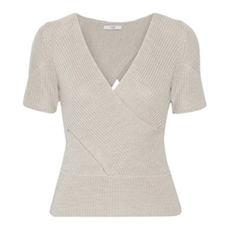 Wrap-Effect Ribbed Merino Wool Sweater