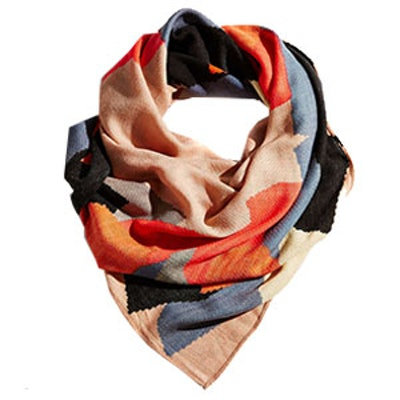 Painterly Brushed Square Scarf