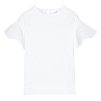 Popplin Trimmed Cotton Jersey Top