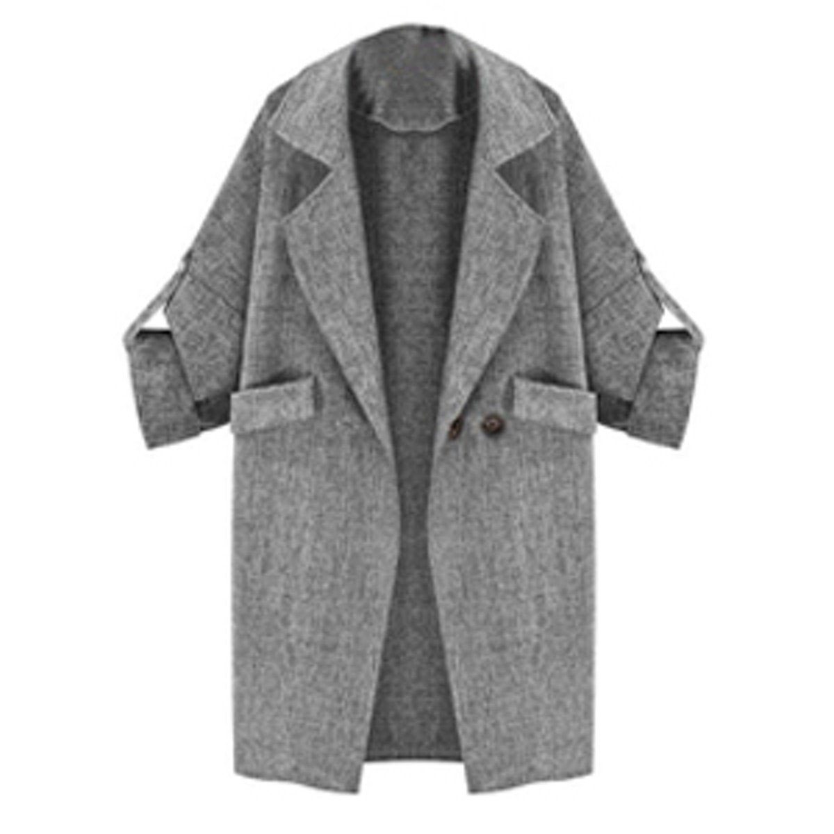 Lapel Collar Adjustable Sleeve Trench Coat