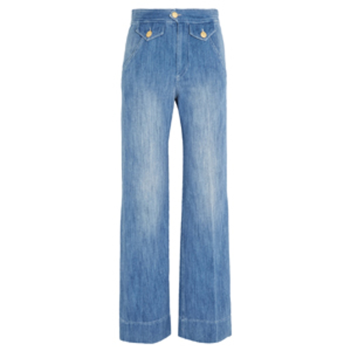 Odessa Cotton-Chambray Wide-Leg Pants