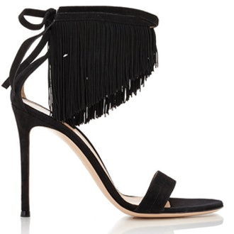 Fringed Ankle-Tie Sandals