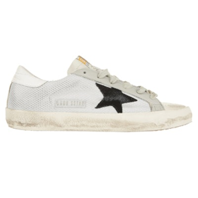 Distressed Mesh Leather Paneled Sneakers