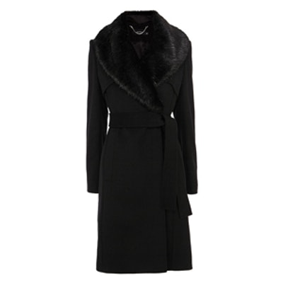 Faux Fur Collar Wool Trench Coat
