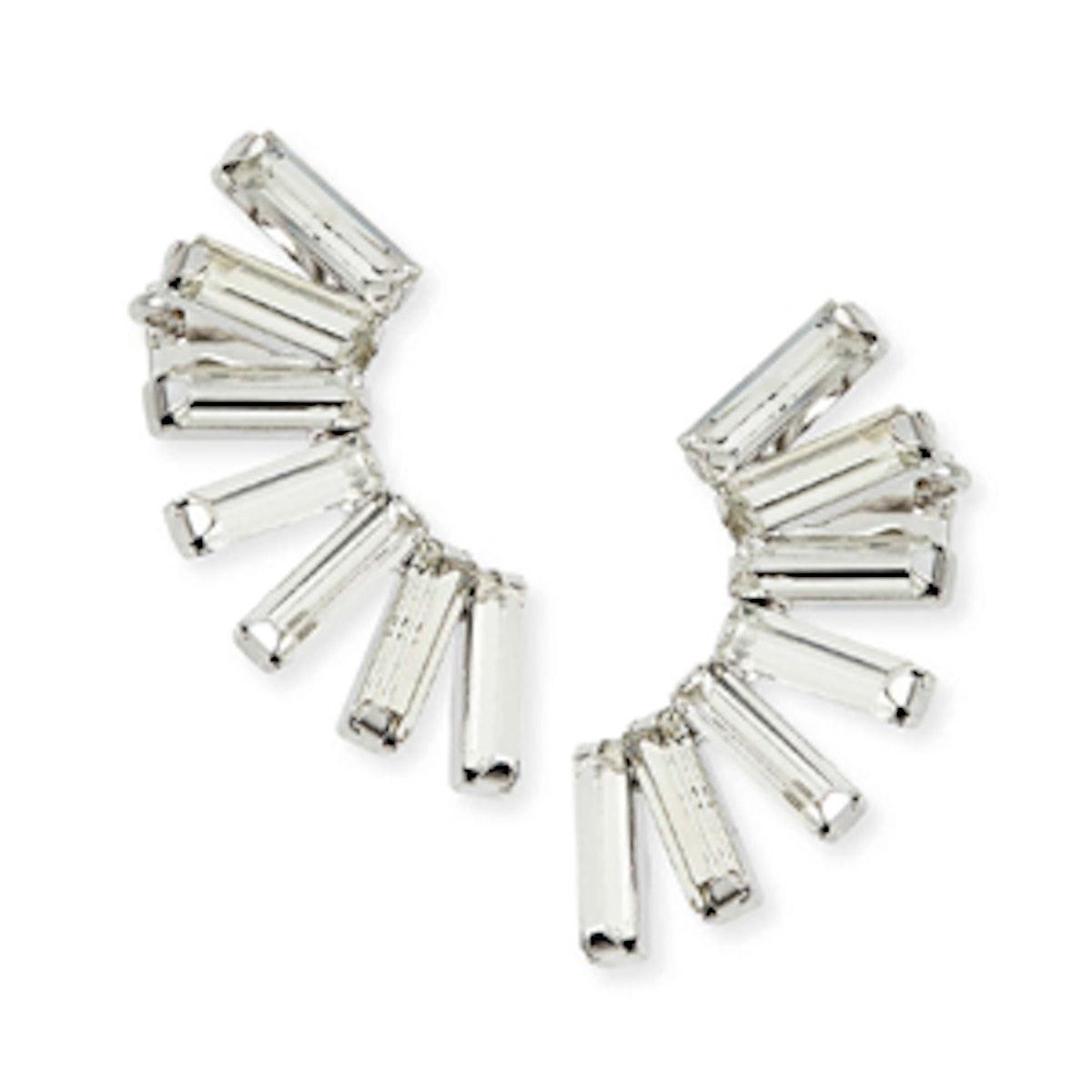 Baguette Crystal Earrings Cuffs