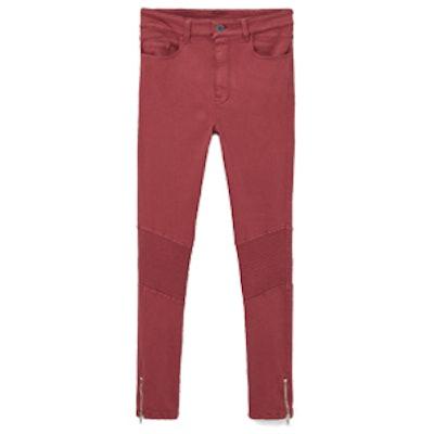 Zip Cotton Trousers