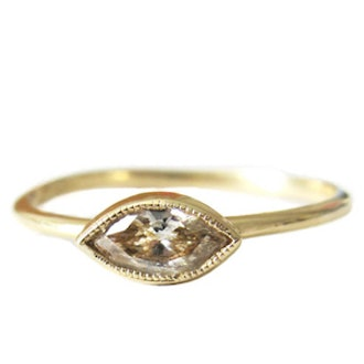 Gold & Champagne Diamond Marquis Ring