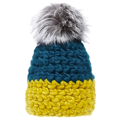 Colorblock Wool Beanie With Silver Fox Fur Poms