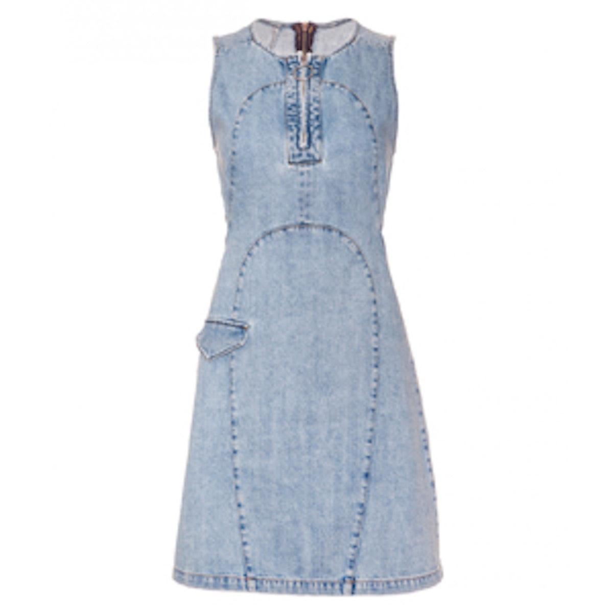 Sleeveless Denim Cutout Mini Dress