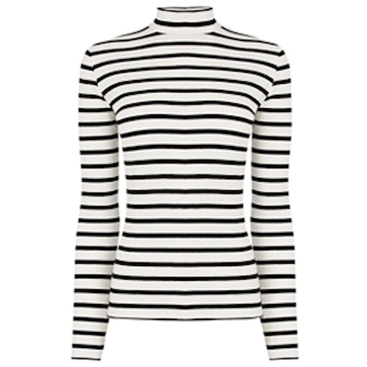 Skinny Stripe Rib Polo Neck Jumper Oasis