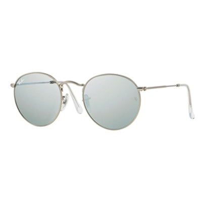 Round Metal Frame Sunglasses With Silver Mirror Lens