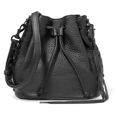 Studded Pebbled-Leather Bucket Bag