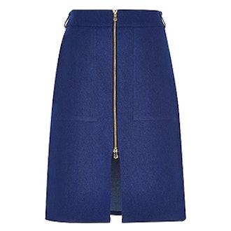 Denim Zip-Up Midi Skirt