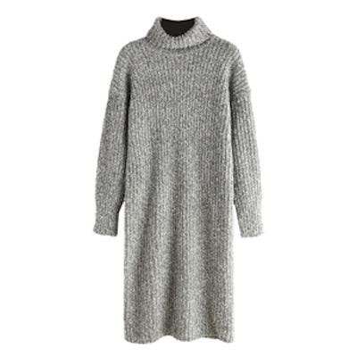 Turtleneck Grey Long Sweater Dress