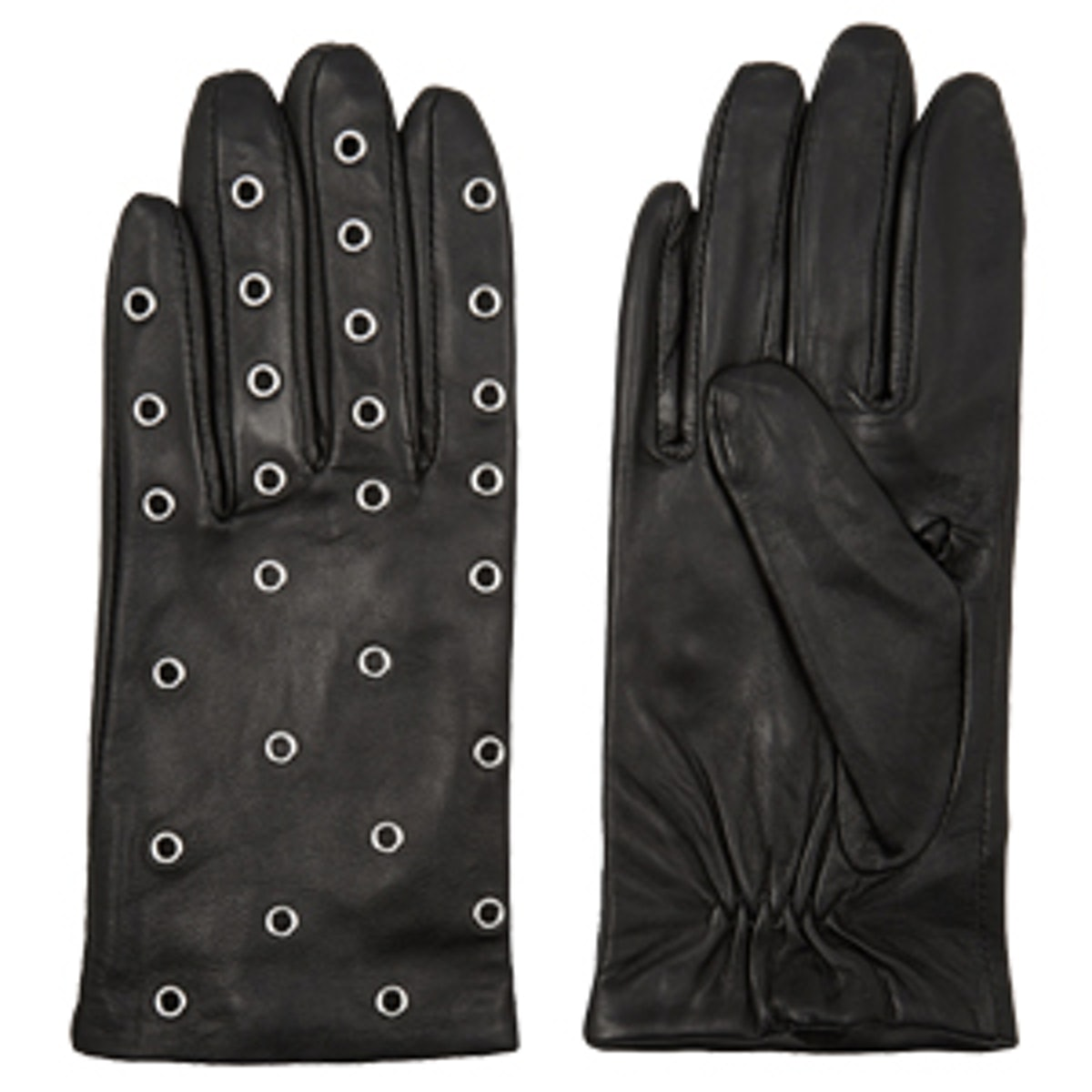 Anael Eyelet-Embellished Leather Gloves