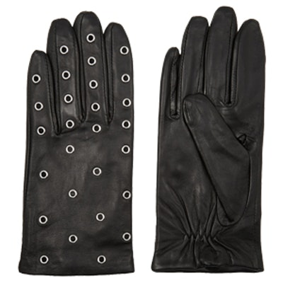 Anael Eyelet-Embellished Leather Gloves