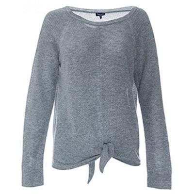 Long Sleeve Tie Front Wool Sweater