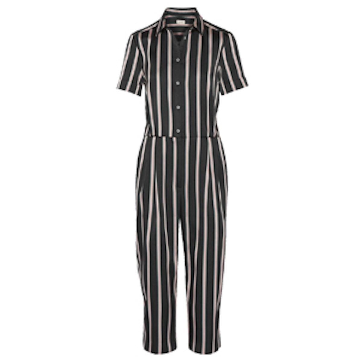 Pleated Striped Jumpsuit