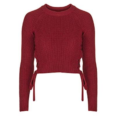 Eyelet Tie Side Crop Sweater