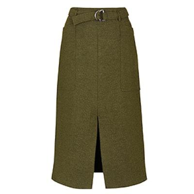 Belted Split Midi Skirt