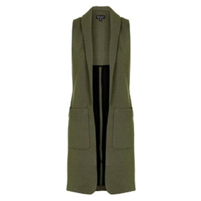 Shawl Collar Sleeveless Jacket
