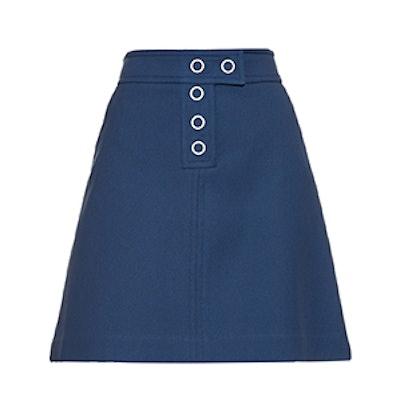 Snap Stretch-Twill Mini Skirt